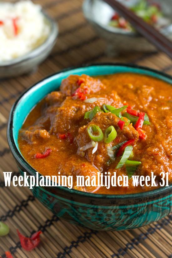 Weekplanning maaltijden week 31