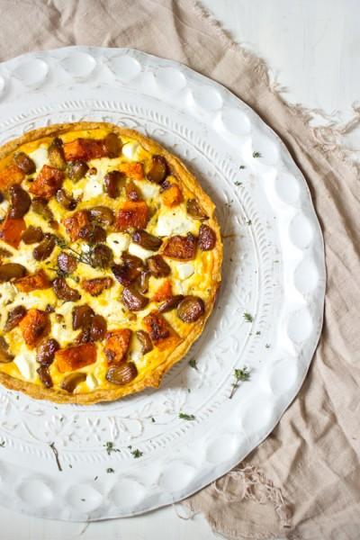 Recept knoflook pompoen geitenkaas taart