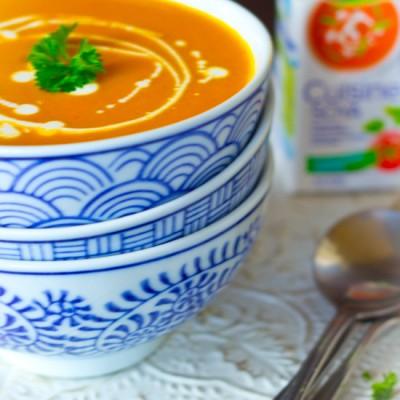Recept snelle zoete aardappel wortel gember soep