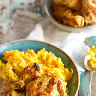 Gebraden kip uit de pan met saffraan rijst recept