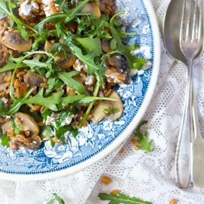 Spelt champignons rucola salade recept