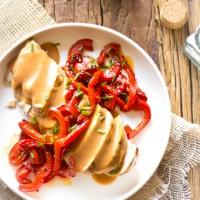 Retro recept gebakken kipfilet paprika schotel