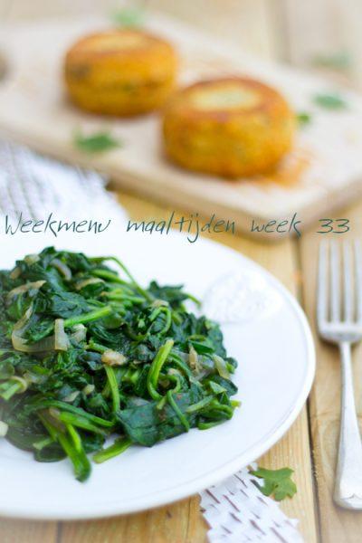 Weekmenu maaltijden week 33