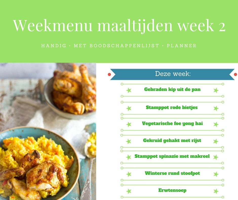 Weekmenu maaltijden week 2
