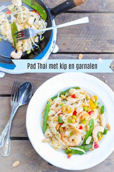 Pad Thai met kip en garnalen recept