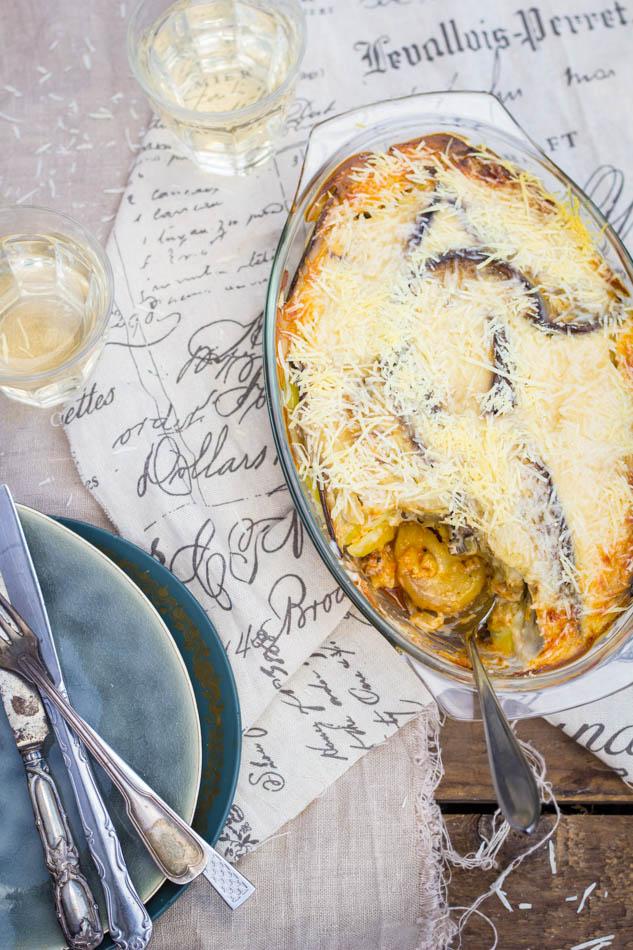 Aubergine ovenschotel met aardappel recept