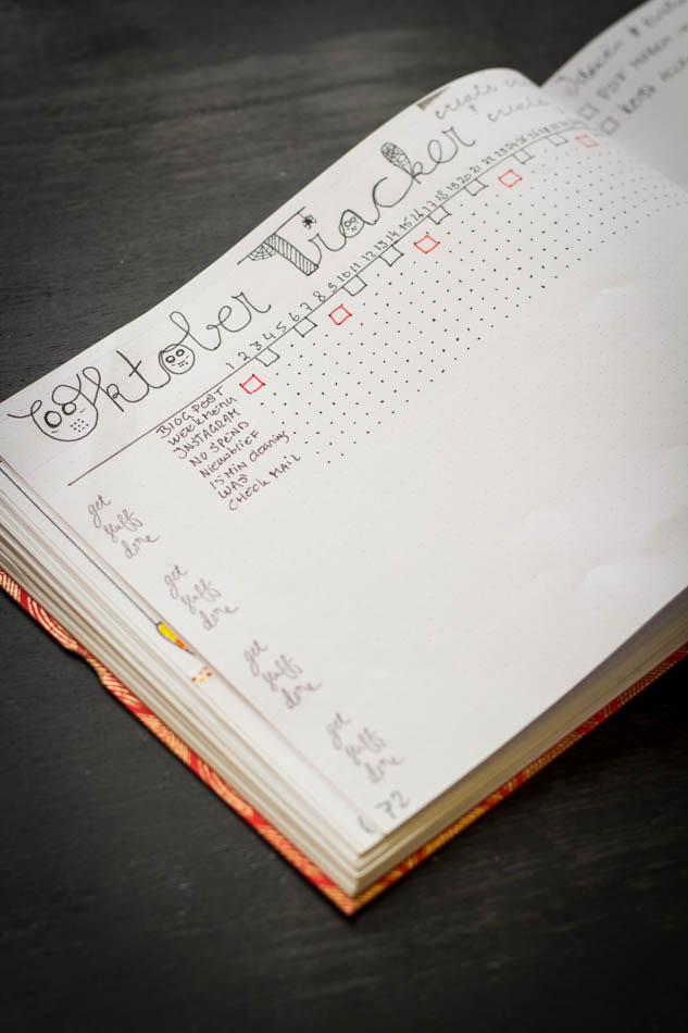 Bullet Journal maandelijkse tracker