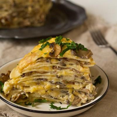 Recept lasagne van flensjes met paddenstoelen