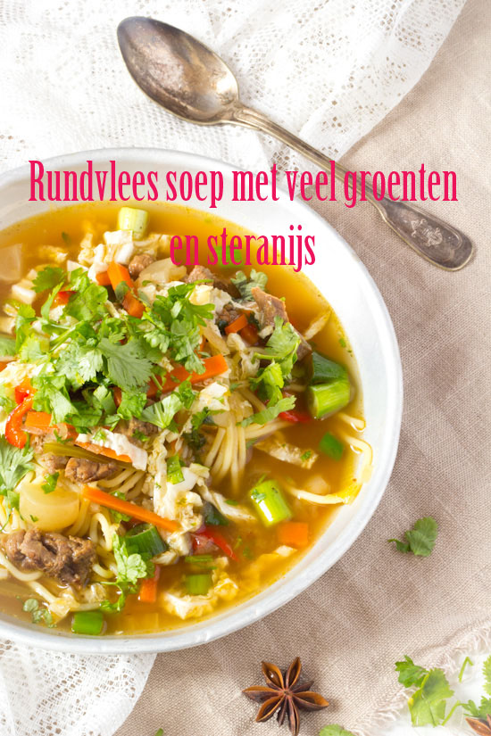 Rundvlees soep met veel groenten en steranijs