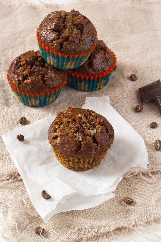 Koffie banaan chocolade ontbijt muffin.