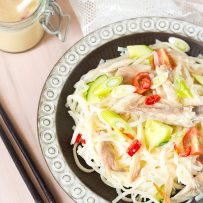 Rijst noedels makreel salade recept