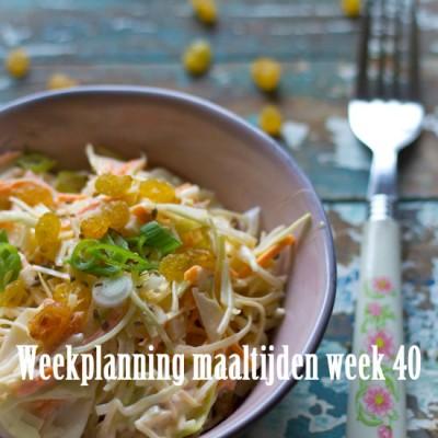Weekplanning maaltijden week 40