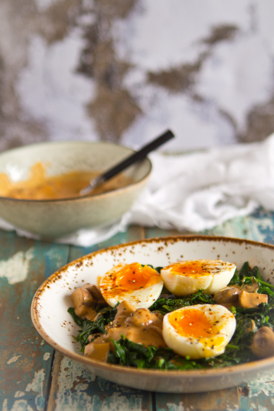 Retro recept champignons spinazie ei gerecht