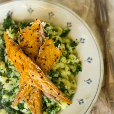 Stamppot spinazie gerookte makreel maaltijd recept