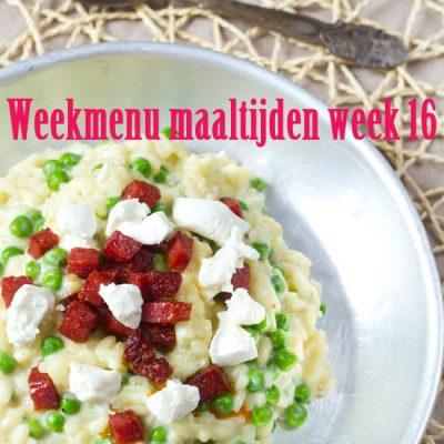 Weekmenu maaltijden week 16