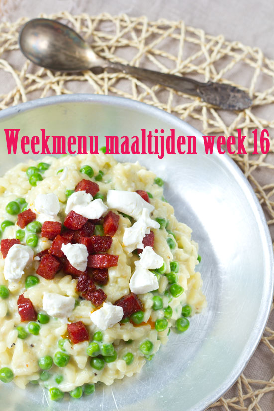 Weekmenu maaltijden week 16