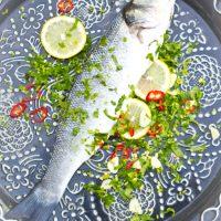 Recept pittige koriander knoflook zeebaars