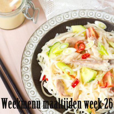 Weekmenu maaltijden week 26