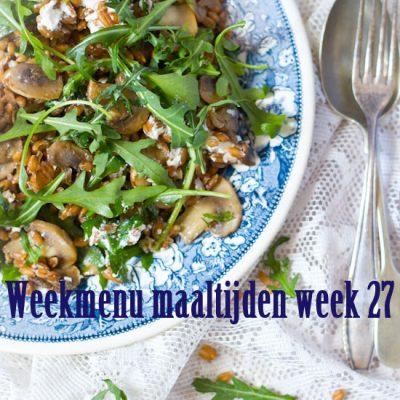 Weekmenu maaltijden week 27