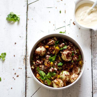 Rode quinoa meloen kip salade recept