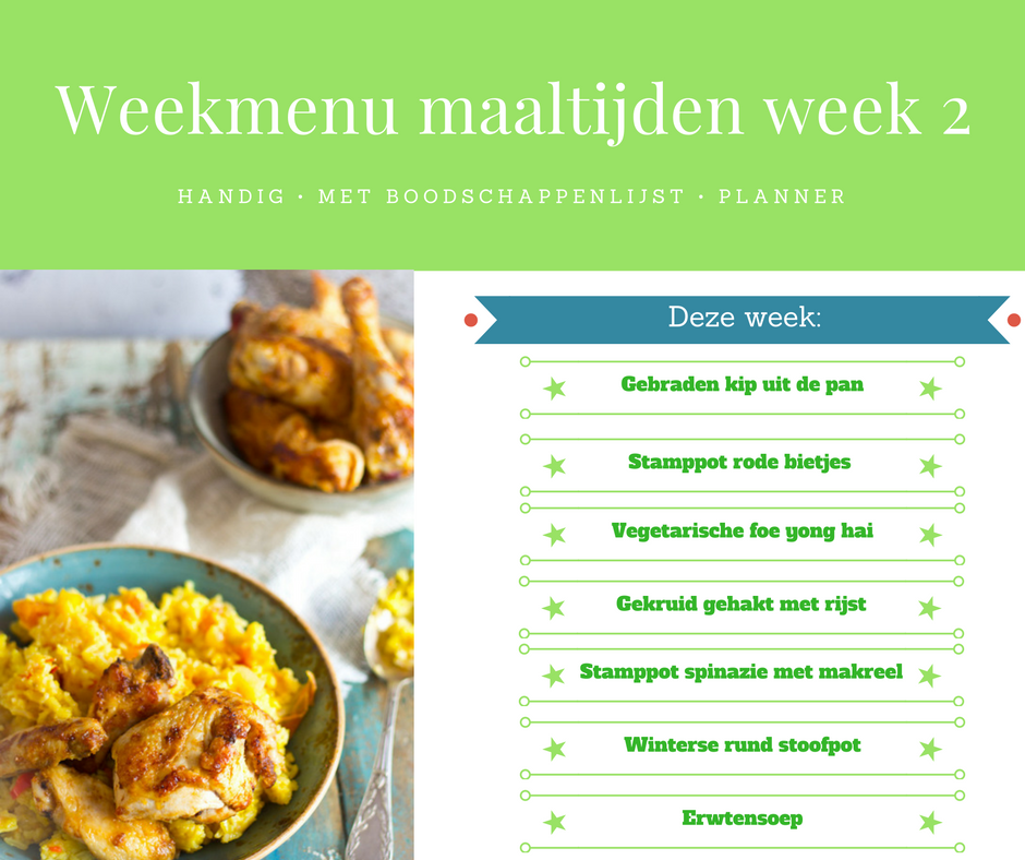 Weekmenu maaltijden week 2