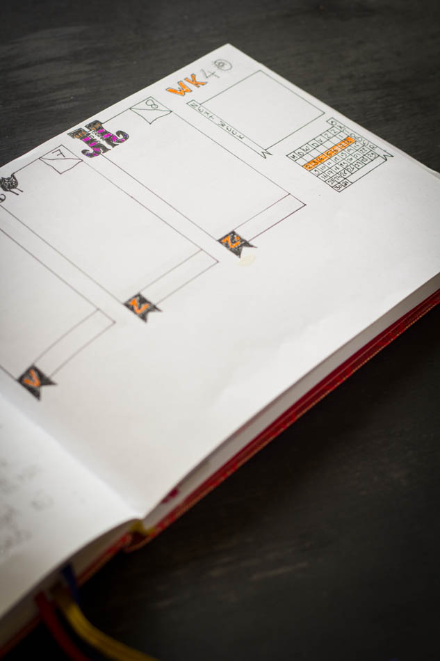 Bullet Journal wekelijkse layout oktober